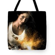 Woman With Angle Grinder Spraying Sparks Tote Bag