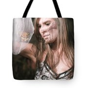 Woman With Butterfly In Net Tote Bag
