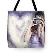 Woman With Camera. Love In A Still Frame Capture Tote Bag