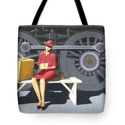 Woman With Locomotive Tote Bag