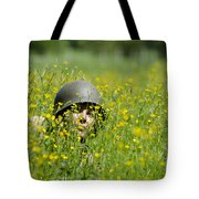 Woman With Military Helmet Tote Bag