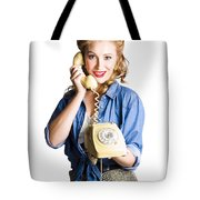 Woman With Retro Telephone Tote Bag
