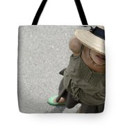 Woman With Straw Hat Tote Bag