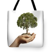 Womans Hands Holding Soil With A Tree Tote Bag