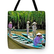 Women Waiting For Passengers On Mekong River Canal-vietnam Tote Bag