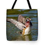 Wood Duck Drake Flapping Wings Tote Bag