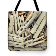 Wooden Clothes Pegs Tote Bag