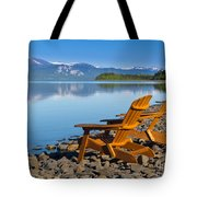 Wooden Deckchairs Overlooking Scenic Lake Laberge Tote Bag