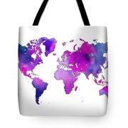World Map Watercolor Tote Bag