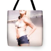 Young Attractive Travel Woman At Beach Tote Bag