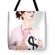 Young Businesswoman Super Hero Showing Dollar Sign Tote Bag