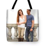 Young Couple Bridge Tote Bag