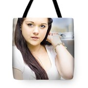 Young Pretty Business Travel Woman With Luggage Tote Bag