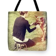 Young Woman In 20s Playing Fetch With Her Dog Tote Bag