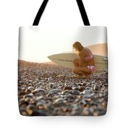 Young Woman Walking On Beach Tote Bag