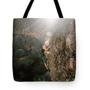 A Man Rock Climbing In Pinnacles Tote Bag