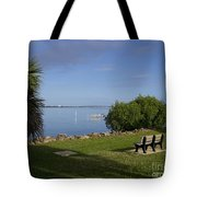 Melbourne Beach Pier In Florida Tote Bag