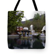 Premises Of The Hindu Temple At Mattan With A Water Pond Tote Bag