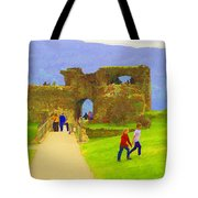 Tourists And The Path At Ruins Of The Urquhart Castle Tote Bag