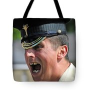 1st Battalion Welsh Guards On The Drill Tote Bag by Andrew Chittock