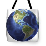 3d Rendering Of Planet Earth, Centered Tote Bag