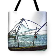 Fishing Nets On The Sea Coast In Alleppey Tote Bag