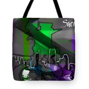 Sacramento Map And Skyline Watercolor Tote Bag