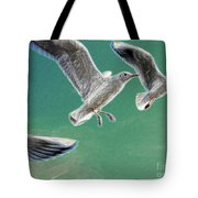 10760 Seagulls In Flight #001 Photo Painting Tote Bag