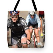 Cyclists Climb A Hill With A Mountain Tote Bag