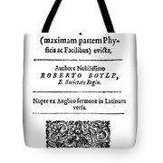 Robert Boyle (1627-1691) Tote Bag