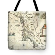 1635 Blaeu Map Of New England And New York Tote Bag by Paul Fearn