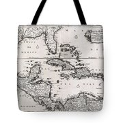 1696 Danckerts Map Of Florida The West Indies And The Caribbean Geographicus Westindies Dankerts 169 Tote Bag
