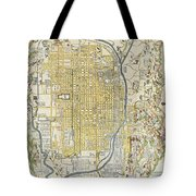 1696 Genroku 9 Early Edo  Japanese Map Of Kyoto Japan Geographicus Kyoto Genroku9 1696 Tote Bag