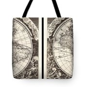 1696 Zahn Map Of The World In Two Hemispheres Geographicus World Zahn 1696 Tote Bag