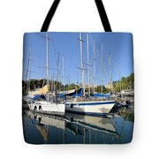 Reflections In Mikrolimano Port Tote Bag