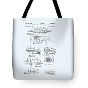 Guitar Pickup Patent Drawing On A Blue Background Tote Bag