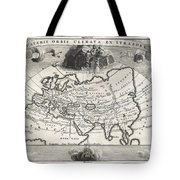 1700 Cellarius Map Of Asia Europe And Africa According To Strabo Tote Bag