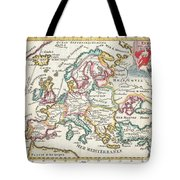 1706 De La Feuille Map Of Europe Tote Bag