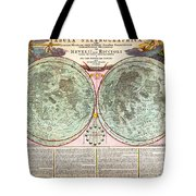 1707 Homann And Doppelmayr Map Of The Moon Geographicus Tabulaselenographicamoon Doppelmayr 1707 Tote Bag