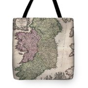 1716 Homann Map Of Ireland Tote Bag