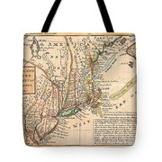 1729 Moll Map Of New York New England And Pennsylvania  Tote Bag