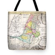 1750 Homann Heirs Map Of Israel Palestine Holy Land 12 Tribes Geographicus Palestina Homannheirs 175 Tote Bag