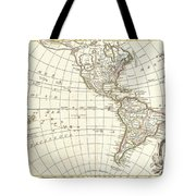 1762 Janvier Map Of North America And South America  Tote Bag