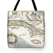 1763 Terreni  Coltellini Map Of Cuba And Jamaica Tote Bag