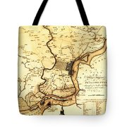 1777 Philadelphia Map Tote Bag by Bill Cannon
