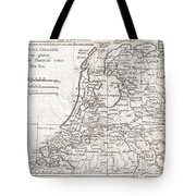 1780 Raynal And Bonne Map Of Holland And Belgium Tote Bag
