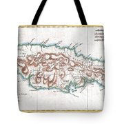 1780 Raynal And Bonne Map Of Jamaica West Indies Tote Bag