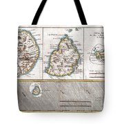 1780 Raynal And Bonne Map Of Mascarene Islands Reunion Mauritius Bourbon Tote Bag