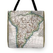 1780 Raynal And Bonne Map Of South America Tote Bag