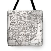 1780 Raynal And Bonne Map Of Spain And Portugal Tote Bag